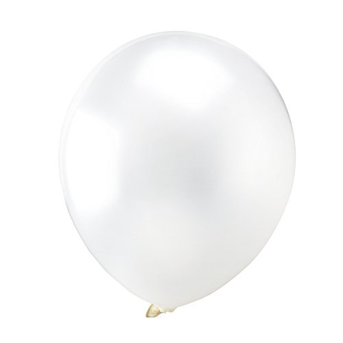 OULII White Latex Metallic Balloons, 12 Inch, Pack