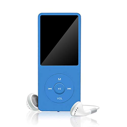 Tuscom MP3/MP4 Player with Earphones, Portable HiFi Lossless Sound MP3 Music Player Digital Voice Recorder FM Radio E-Book Reader, 70 Hours Playback, Support up to 128GB TF Card (Blue)