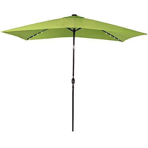 Sundale Outdoor Rectangular Solar Powered 22 LED Lighted Patio Umbrella Table Market Umbrella with Crank and Push Button Tilt for Garden, Deck, Backyard, 6 Alu. Ribs, 10 by 6.5-Feet (Lime Green)