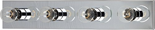 Maxim 4454PC Essentials 4-Light Bath Vanity, Polished Chrome Finish, Glass, MB Incandescent Incandescent Bulb , 12W Max., Dry Safety Rating, 3000K Color Temp, Shade Material, 780 Rated Lumens