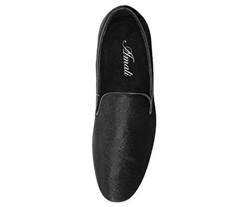 Amali Mens Paisley Velvet Chinese Smoking Slipper, Nightclub Slip On Loafer Dress Shoe, Style Vincent Black