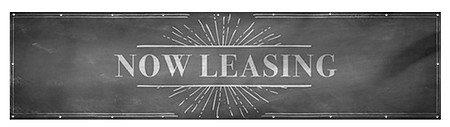 CGSignLab Chalk Banner Wind-Resistant Outdoor Mesh Vinyl Banner Now Leasing 12x3