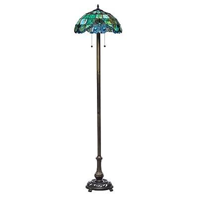 "Serena d'italia 58"" Tiffany Style Pearl Blue Bronze Vintage Floor Lamp"