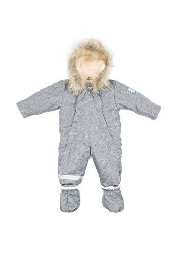 (DASTI Wintersnow with Hood Bunting Wool Lined Happy Mood with a Raccoon Fur Hood Trim (3-T, Gray))