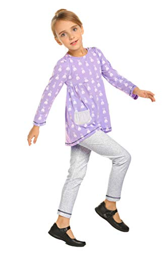 (Arshiner Little Girls Clothing Sets Bunny Long Sleeve Outfits 2 PCS Top Leggings Pajamas Sets Lilac)