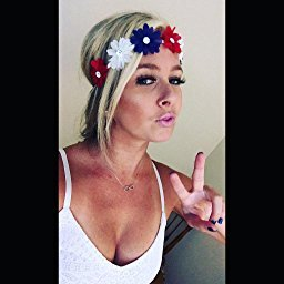 Lux Accessories Women's Red White Blue American Flag Patriotic Floral Flower Crown Stretch Headband ()