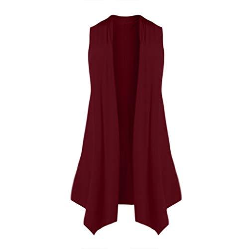 - Cardigans for Women Sleeveless,SMALLE◕‿◕ Women's Lightweight Asymetric Hem Open Front Draped Open Long Cardigan Vest Wine