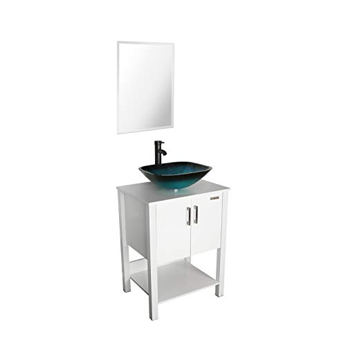 eclife 24'' Bathroom Vanity Sink Combo White Cabinet Vanity Turquoise Square Tempered Glass Vessel Sink & 1.5 GPM Water Save Faucet & Solid Brass Pop Up Drain, With Mirror(A10B12W)