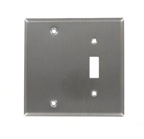 Leviton 84006-40 2-Gang 1-Toggle 1-Blank Device Combination Wallplate, Standard Size, Strap Mount, Stainless Steel