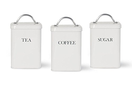 Garden Trading Metal Tea, Coffee and Sugar Jars Canisters in Chalk - Garden Canister Tea
