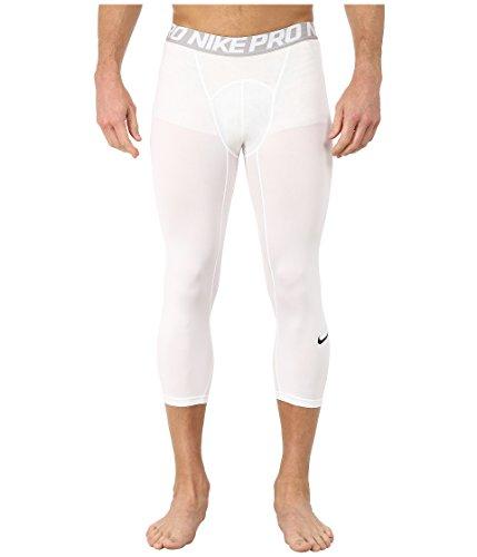 NIKE Men's Pro 3/4 Tights, White/Matte Silver/Black, Small by Nike (Image #3)