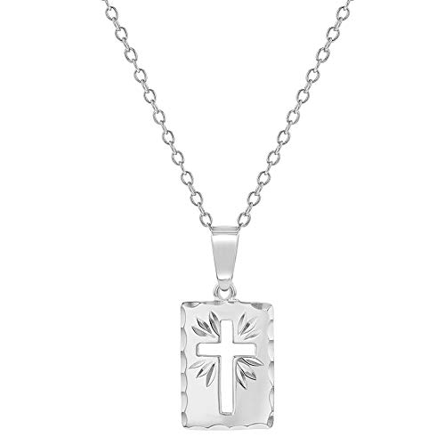 - 925 Sterling Silver Cutout Cross Medal Pendant Necklace Baby Children 16
