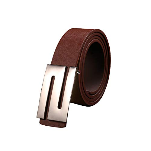 New Leather Belt for men Women,Solid Buckle Leather Waist Strap Belts Automatic Ratchet Leather Belt (Coffee)