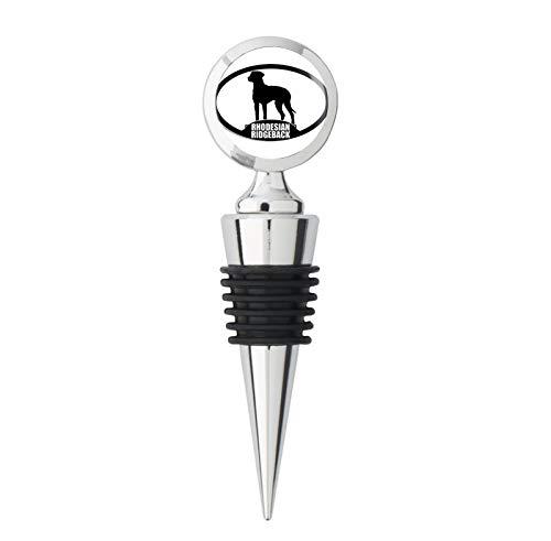 Oval RHODESIAN RIDGEBACK Silhouette (dog breed) Metal Wine Bottle Stopper