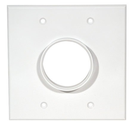 (Double Gang Wireport Cable Pass Through Wall Plate - White-2pack )