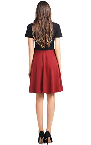 Wrap Wrap Short Sleeve Line Dress Amoretu Red Women Skater Elegant A Dress Top Wine 7Hq5f