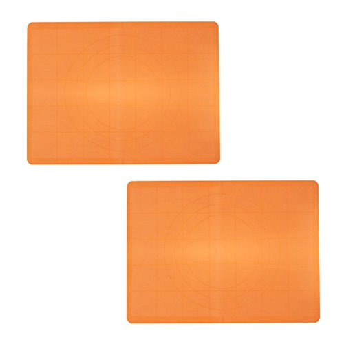 KurtzyTM Pack Of 2 Large Silicone Work Mat With Guide Rings And Ruler For Baking, Cake Decorating