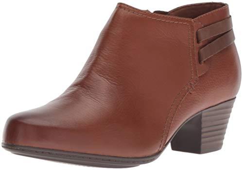 CLARKS Women's Valarie2Ashly Fashion Boot, Dark tan Leather, 070 M US