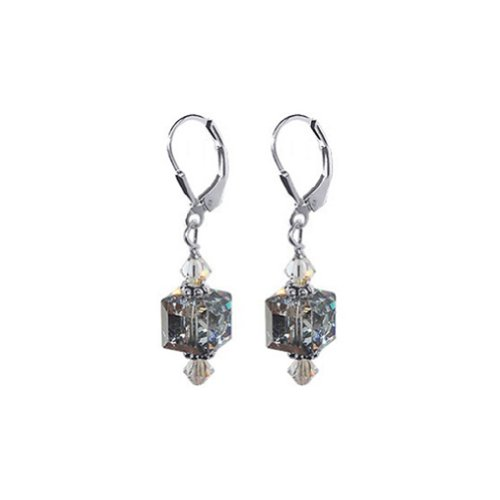 Gem Avenue 925 Sterling Silver Handmade Cube Shape Argent Comet Light Swarovski Elements Leverback Crystal Drop Earrings for Women