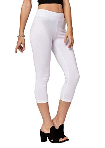 Premium Ultra Soft Stretch High Waisted Cotton Leggings for Women with Yoga Waistband - Capri Extra White - -