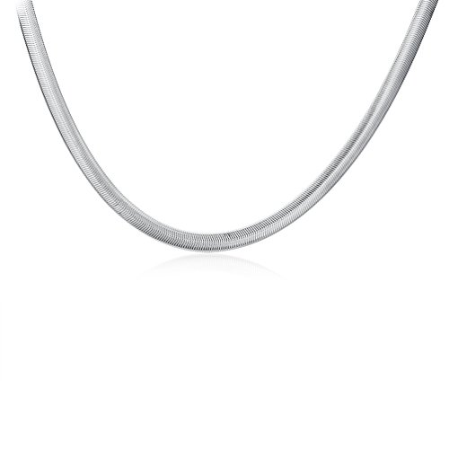 - SUNKOOL Men 925 Sterling Silver Plated Chain Necklace 22 inch Snake Bone Style