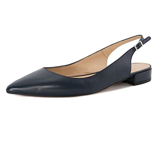 Eldof Women Low Heels Pumps | Pointed Toe Slingback Flat Pumps | 2cm Classic Elegante Court Shoes Navy US8.5