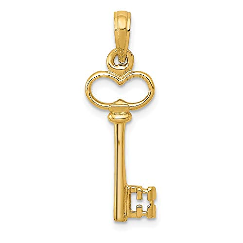 14k Yellow Gold 3 D Key Pendant Charm Necklace Fine Jewelry Gifts For Women For Her