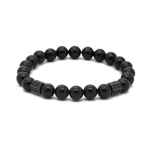 Men's Black Onyx Stone with Rectangle Micro Inlay Black Zircon Beads Bracelets (8mm) ()