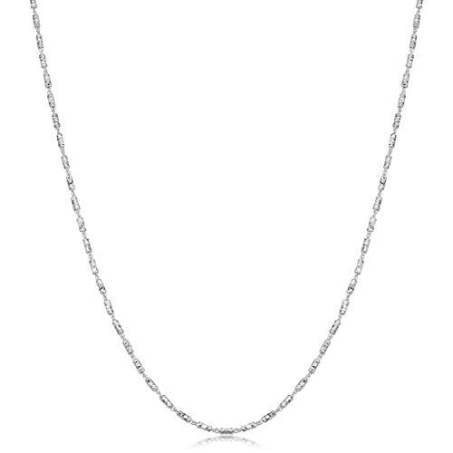 Kooljewelry Sterling Silver Diamond-cut Bar Link Chain Necklace (1.5 mm, 20 ()