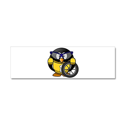 20 x 6 Wall Vinyl Sticker Little Round Penguin - Cyclist in Yellow Jersey