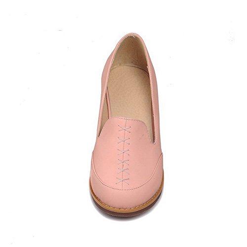 AllhqFashion Mujer Tacón medio PU Material suave Puntera Redonda ZapatosdeTacón Slip-on Rosa