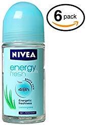Nivea ENERGY FRESH Women's Roll-On Antiperspirant & Deodorant. 48-Hour Protection Against Underarm Wetness. (Pack of 6 Bottles, 1.7oz / 50ml Each Bottle) ()