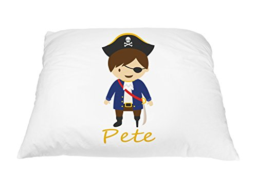 Personalized Kid's Pirate Pillowcase Microfiber Polyester 20 by 30 Inches, Custom Pillowcase, Kids Bedding for Boys, Kids Bedding Pillows, Boy Pirate Bedding, Childrens Bedding for Boys Standard