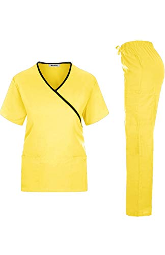 - MEDPRO Women's Contrast Trimmed Solid Medical Scrub Set Mock Wrap Top and Cargo Pants Yellow Black XS
