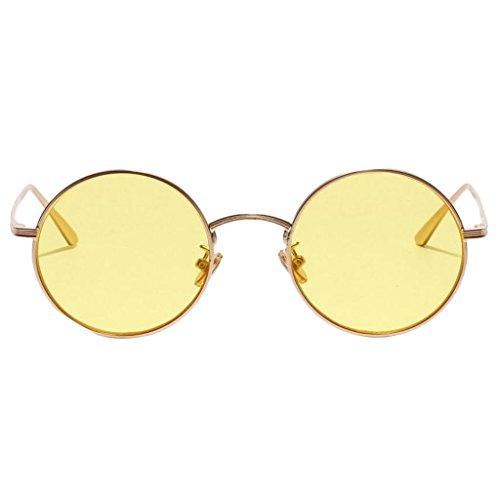 Pesca Decoración Viajes Masculinos de Retro Estilo Clásica amarillo Forma 1x Gafas MagiDeal Redonda Personalidad Sol Vidrios Femeninos WcnIRqAC