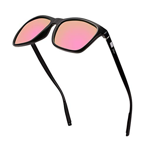 Square Aluminum Magnesium Frame Polarized Sunglasses Vintage Spring Temple Sun Glasses Men Women Retro Driving Eyewear UV400 (Pink Lens/Black Frame)