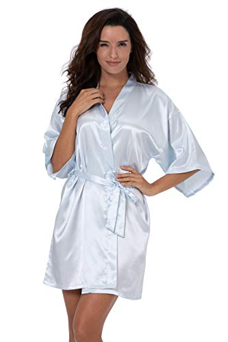 ShinyLuck Women's Satin Short Kimono Robe Solid Color Dressing Gown Bridal Party Robe (Small, Pale Blue)