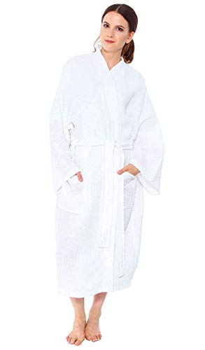 Simplicity Men/Women's 100% Cotton Lightweight Waffle Weave Spa Robe w/Pockets (white 2)