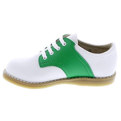 8415//11.5 Little Kid M//W FOOTMATES Cheer Saddle White//Kelly Green
