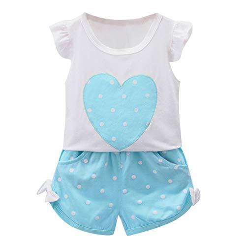 Dinlong Summer Toddler Baby Kid Girl Fly Sleeve Polka Dot Love Heart Printed Tops+ Bowknot Casual Short Pant 2Pcs Outfits Set (Blue, 6-12 Months)