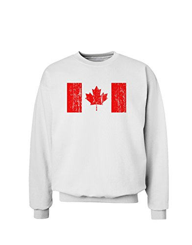 - TooLoud Distressed Canadian Flag Maple Leaf Sweatshirt - White - Medium