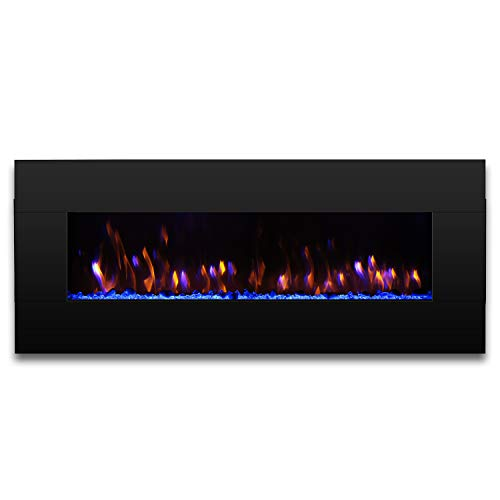 "TURBRO Reflektor 58"" 1400W Electric Fireplace Wall Mounted, Large Sized Decorative Lighting & 7-Color Flame Effects, Reversible Solid Wood Façade, Remote Control"