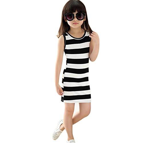 Luonita Teen Kids Girls Casual Slim Dress Sleeveless Stripe Pencil Skirt Waistcoat Soft Cute Princess Dress for 3-13Y -