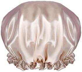 CQIANG シャワーキャップ、防水大人の女性のシャワーキャップ、入浴キッチンフード、シャワーキャップ、ヘアスタイリングキャップ、紫色の抗フードキャップ、ピンク、ブルー、シャンパン、 (Color : Champagne)
