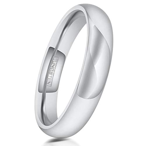 4 Carbide Crosses Tungsten - King's Cross Engraved Personalized Classic Minimalist 3mm/4mm/6mm/8mm Mirror Polished Silver Tungsten Carbide Dome Band Ring feat. Comfort Fit Band. (Tungsten (4mm), 10)