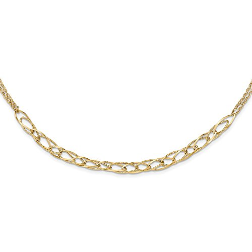 Jewelry Necklaces Fancy Necklaces 14k Gold Polished Textured Fancy Link Double Chain Necklace ()
