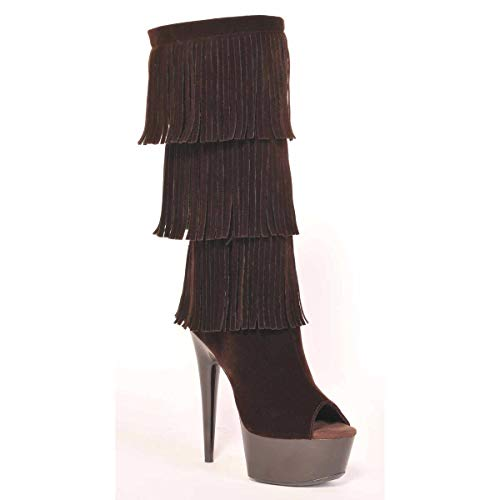 Microsuede Fringe 302 Mid Open The Toe Brown Style Western Heel Boot Amber Highest Calf Women's FFxwTvzZ