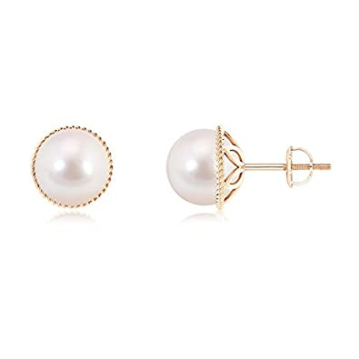 Angara Paisley Framed Akoya Cultured Pearl Stud Earrings vQ8BgPkxK2