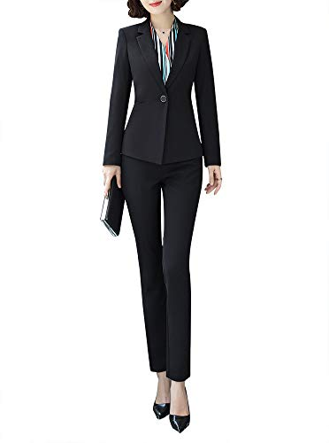 Women Two Pieces Blazers Work Office Lady Suit Business Blazer Jacket&Pant Black