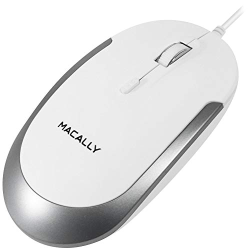 Macally Silent USB Mouse Wired for Apple Mac or Windows PC Laptop/Desktop Computer | Slim & Compact Mice Design with Optical Sensor and DPI Switch 800/1200/1600/2400 | Small for Easy Travel (White)